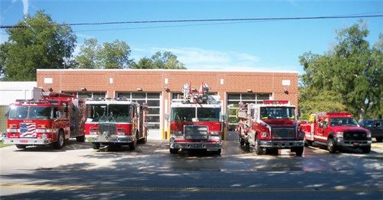 Fire Station with Trucks Out